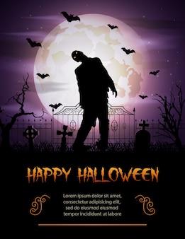 Хэллоуин фон с зомби, выходя из могилы