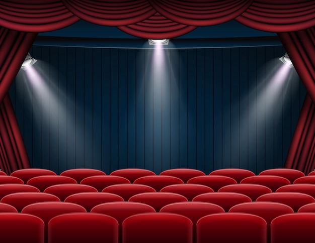 プレミアム赤いカーテンステージ、劇場、またはオペラの背景にスポットライト