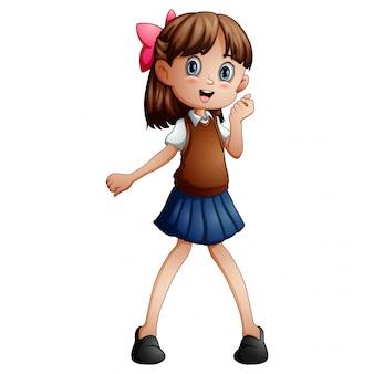 学校の制服を着たかわいい女の子