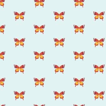 パステル調の背景にシームレスな蝶のパターン。