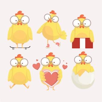 さまざまなポーズで面白い黄色の鶏