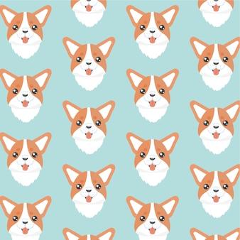 幸せな犬コーギーオレンジ色の背景。