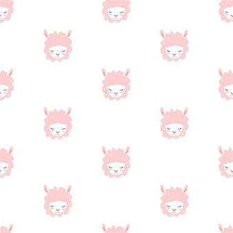 ピンクの羊のシームレスパターン。
