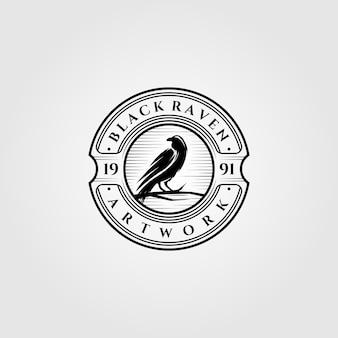ヴィンテージブラックレイヴンまたはカラスのロゴ