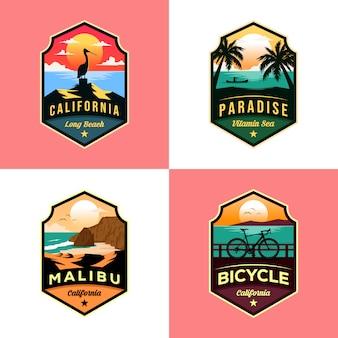 ビーチロゴ旅行イラストデザインのセット