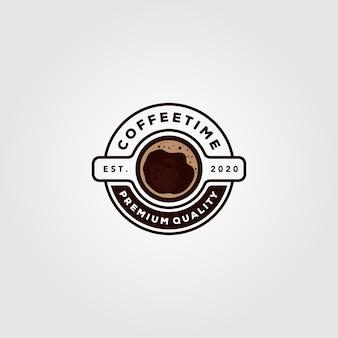 コーヒーカップのロゴカフェショップイラストデザイン