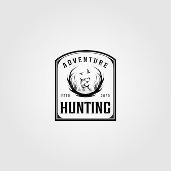 狩猟冒険ロゴビンテージイラストデザイン