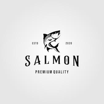 Шаблон логотипа винтаж лососевых рыб