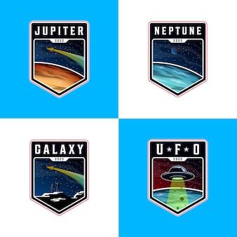 スペース風景惑星ロゴ、バッジスペースロゴのセット