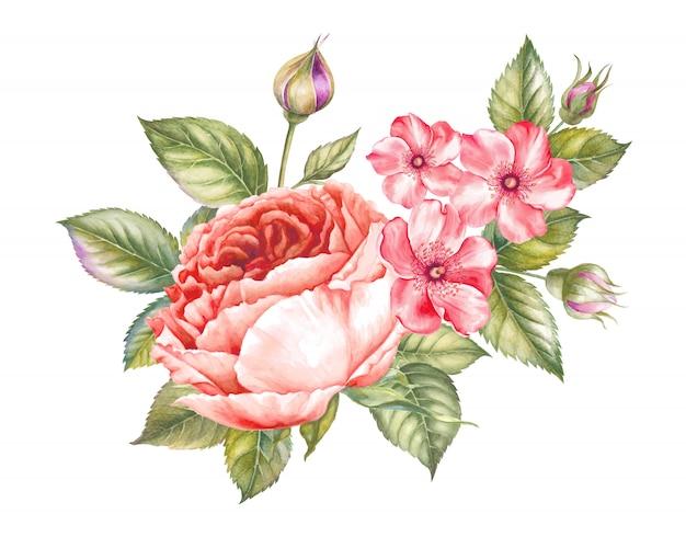 ビンテージの水彩風の素晴らしい花束