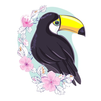 Иллюстрация славного тукана в векторном формате. изображение милой птицы-тукана для воспитания и развлечения детей в детских садах и школах, а также для украшения