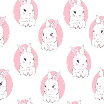漫画のウサギと幼稚なシームレスパターン