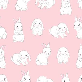 Детский бесшовный узор с мультяшными кроликами