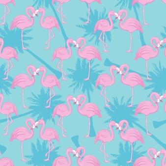 Бесшовный фон с фламинго