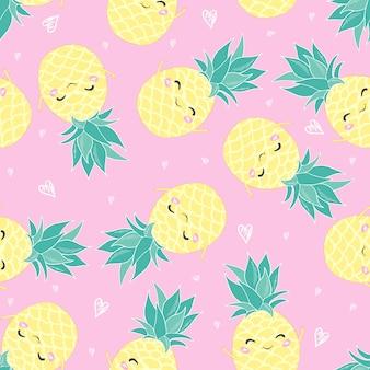 パイナップルとかわいいシームレスパターン印刷