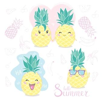 パイナップル、かわいいキャラクター