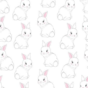 漫画のウサギとのシームレスなパターン