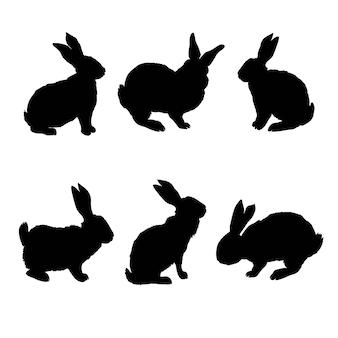 ウサギシルエット-ベクトルイラスト