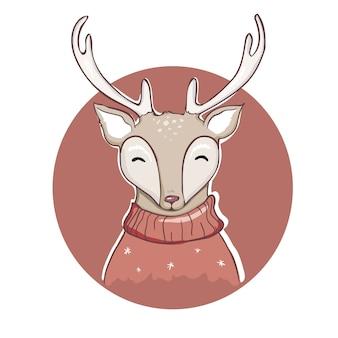 Дизайн иллюстрации шаржа оленей.