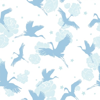 クレーン鳥のシームレスパターン