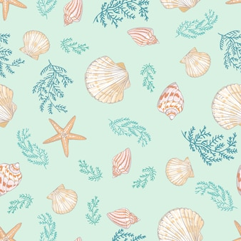 貝殻のシームレスパターン。ホタテ貝。