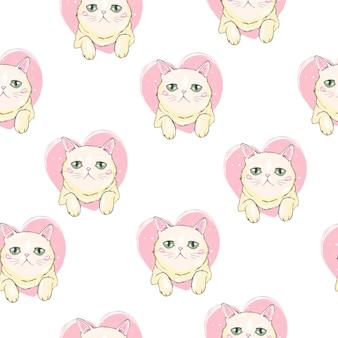 かわいい猫ペットのシームレスパターン