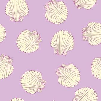 手でシームレスパターンには、ホタテ貝殻が描かれています。