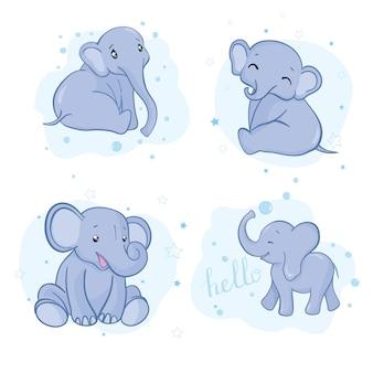 かわいい漫画の象の赤ちゃんのセット。