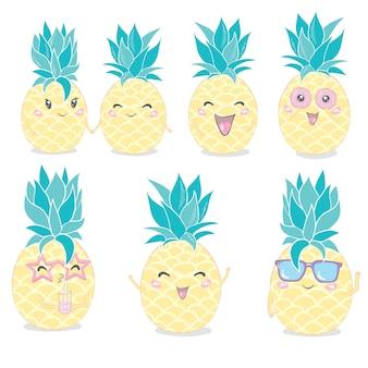 パイナップルかわいいキャラクターセット