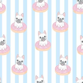 フレンチブルドッグ犬のシームレスパターン