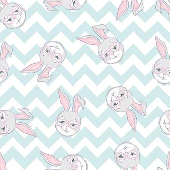 ウサギのパターン。シームレスなベクターパターン