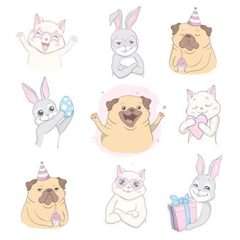 Мультяшный милые животные, детская открытка и приглашение