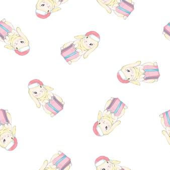 Кролики в шапках санта-клауса бесшовные модели