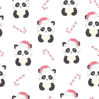 Бесшовный фон с медведем панда в шапке санта-клауса