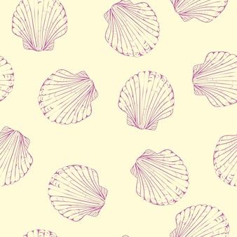 手でシームレスなパターンをベクトルには、ホタテ貝殻が描かれています。