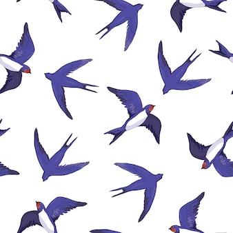 ツバメ鳥のシームレスパターン