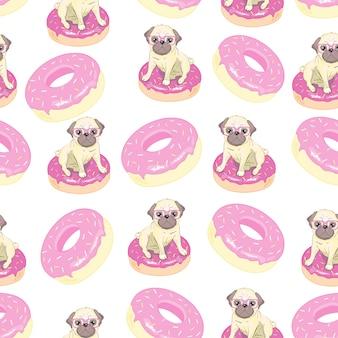 面白いフレンチブルドッグとドーナツとピンクのシームレスなパターン。