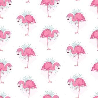 フラミンゴとシームレスなパターンベクトル