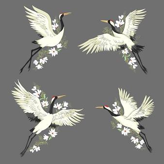 クレーン。飛行中の鳥。セットする