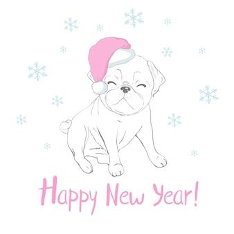 サンタクロースの帽子とスカーフでかわいい子犬と幸せな新年のグリーティングカード。