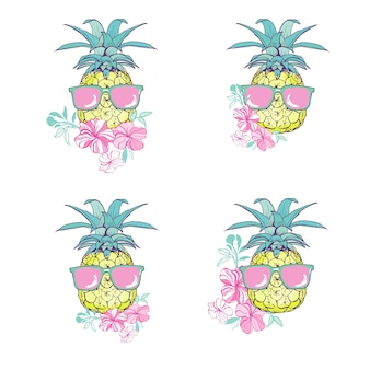 メガネと花のデザインセットとパイナップル
