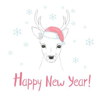 С новым годом открытка с оленем и шапкой санта-клауса