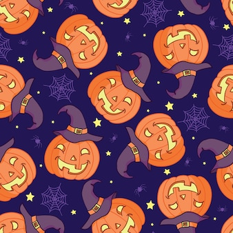 Вектор бесшовный фон для хэллоуина. тыква, призрак, летучая мышь, конфеты и другие предметы на тему хэллоуина. яркий мультяшный узор на хэллоуин