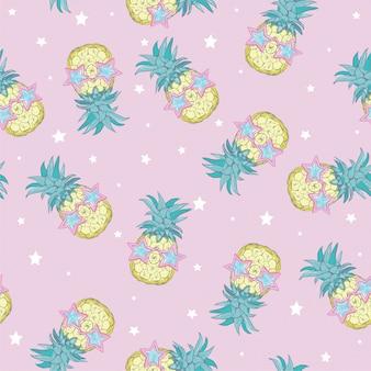 かわいいシームレスなパイナップルパターン