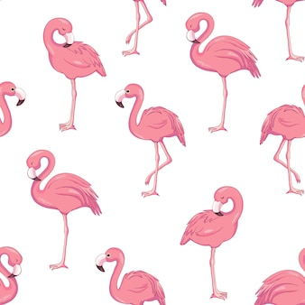 Тропический узор фламинго