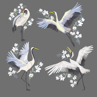 Вышивка с журавлем птицей