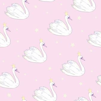 Бесшовный фон с белыми лебедями.