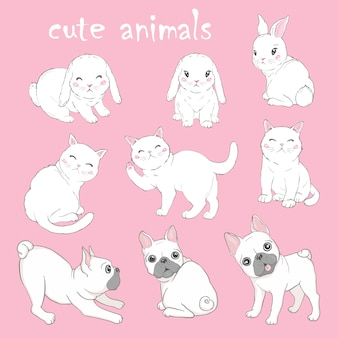 Векторный набор с плакатами с животными