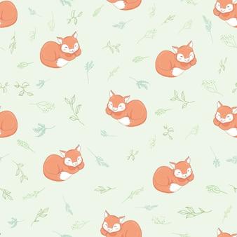 かわいいキツネのシームレスパターン