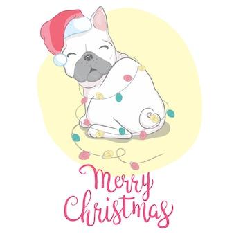 Рождественская открытка из французского бульдога в новогодней шапке